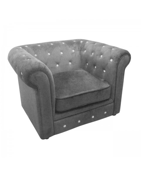 Taking a traditional Chesterfield chair and giving it a contemporary stylish twist makes this ideal for the modern home. Made from sumptuous charcoal grey velvet with diamante detail, the chair shouts elegance and luxury enticing you to take a seat.