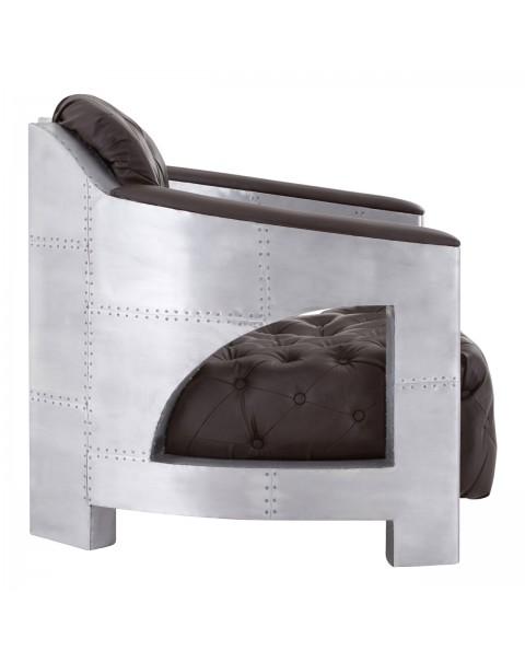 Avro Split Back Armchair Aluminium / Brown Faux Leather