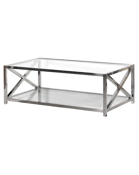 Large Glass and Steel Coffee Table