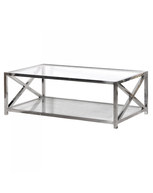Large Glass Steel Coffee Table