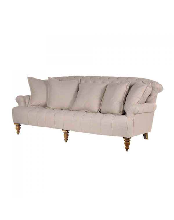 Buttoned Linen 3 Seater Sofa