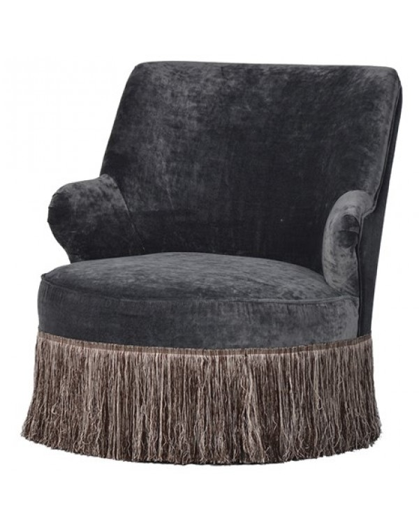Grey Kirk Occasional Fringe Chair
