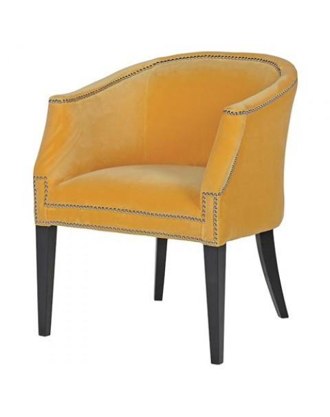 Ebony Mustard Dining Armchair with Chrome Studs - Asco Lights