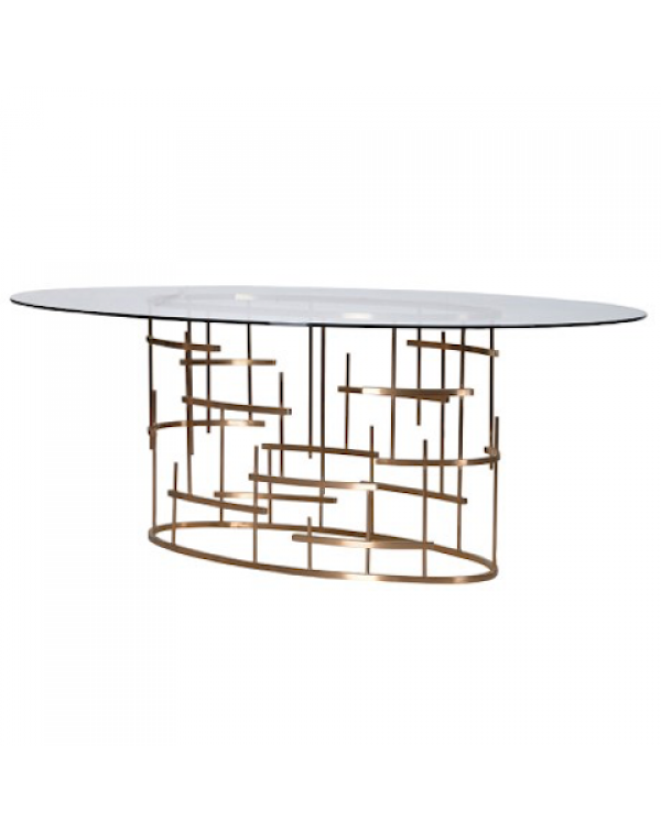 Glass Top Oval Dining Table