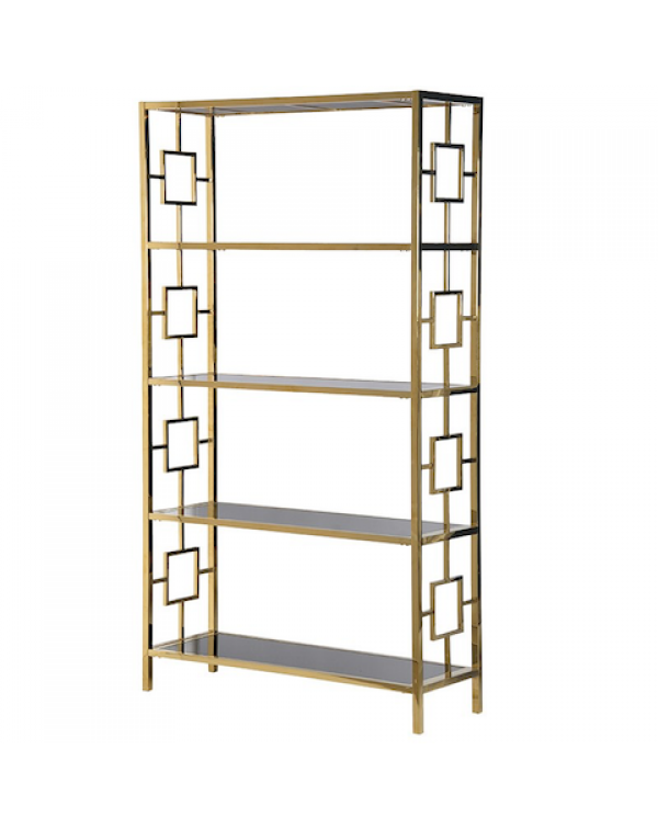 Terano Gold Frame/Black Mirrored Open Bookcase