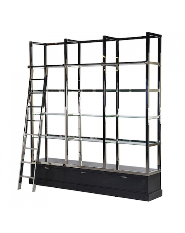 Kensington Black & Chrome Library Shelves Uni...