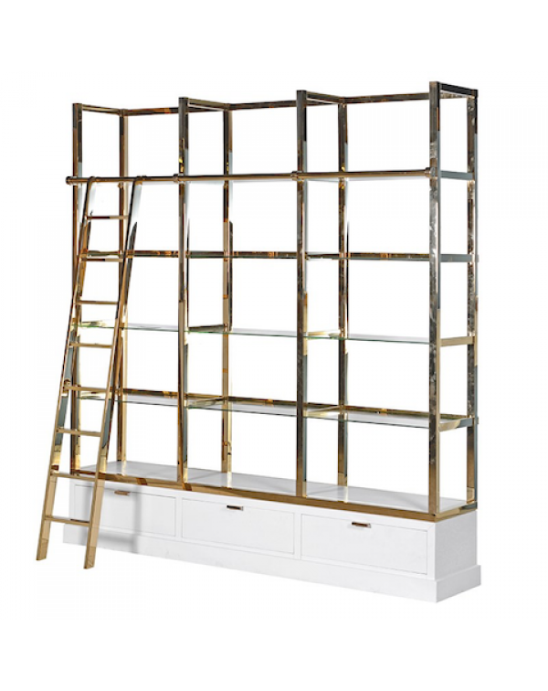 Kensington White & Gold Library Shelves Unit ...