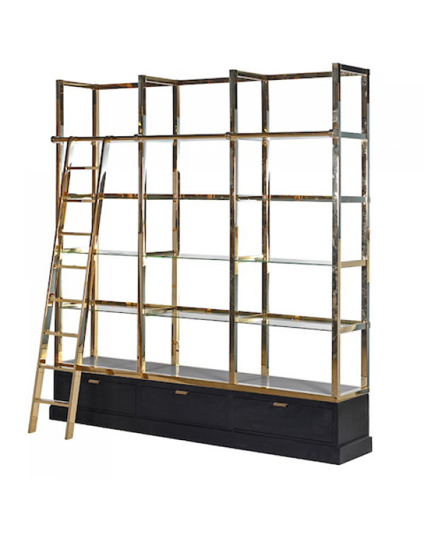 Kensington Black & Gold Library Shelves Unit w...