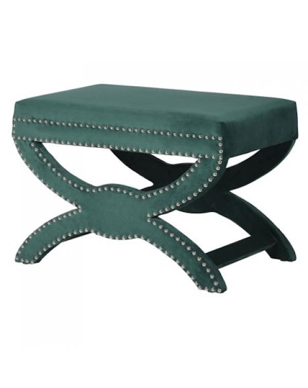 Emerald Green Velvet Footstool