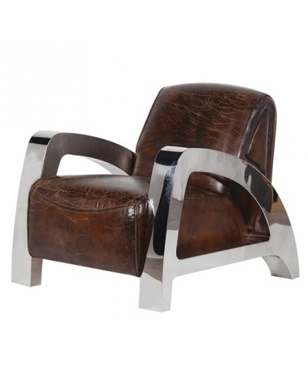 Antique Italian Leather and Steel A-Frame Armchair