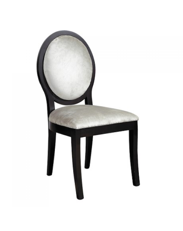Black/Silver Velvet Oval Back Dining Chair