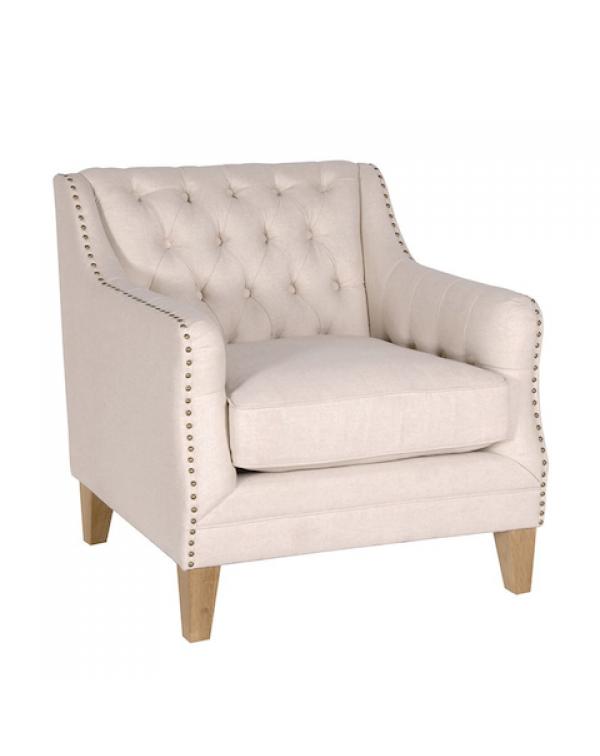Beige Studded Sofa Chair