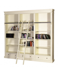 Cream Fayence Library Bookcase with Ladder