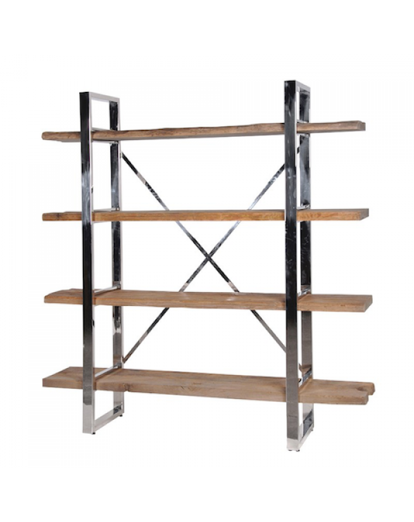 Rustic Pine/Steel Shelf Unit