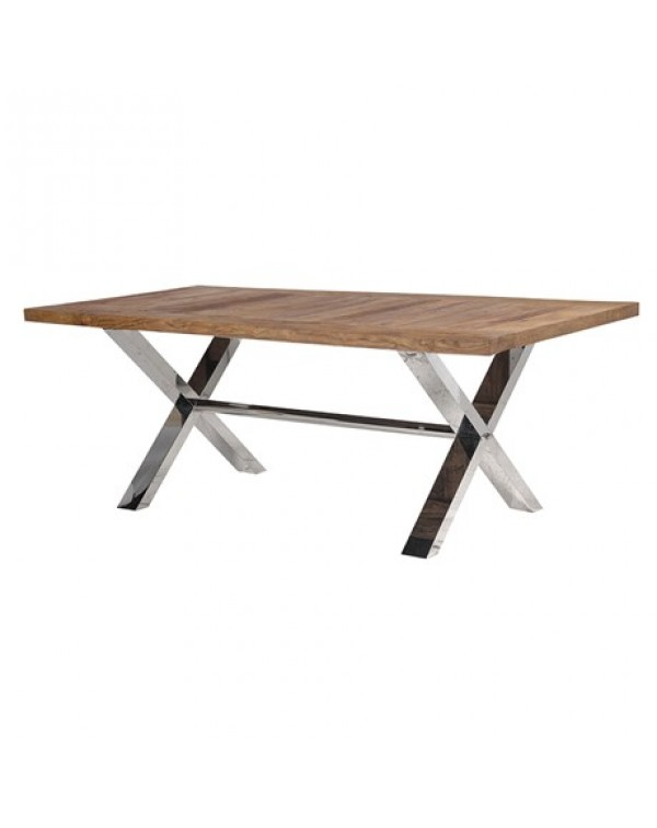 Elm & Steel X-Frame Dining Table
