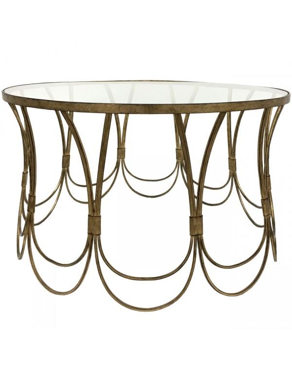 Deco Champagne Iron Coffee Table With Scallop Deta...