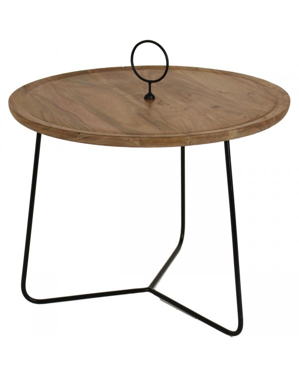 Acacia Wood table With black Metal frame