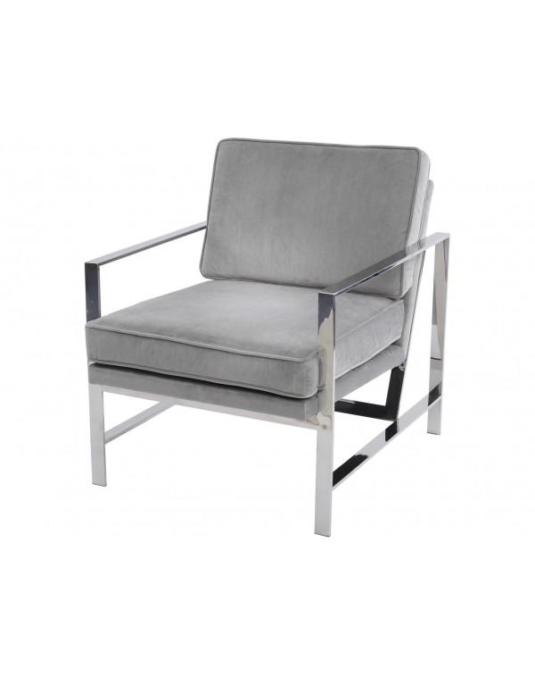 Grey Velvet Chrome Frame Occasional Chair