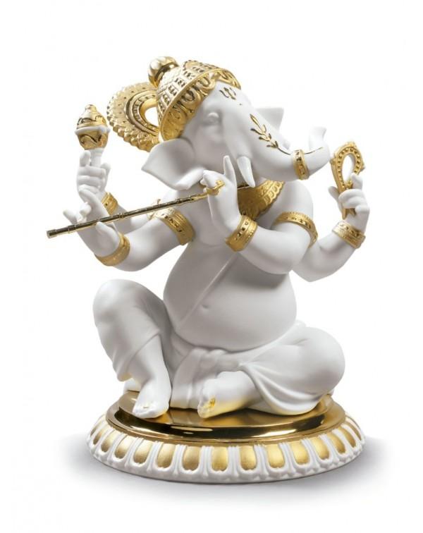 Lladro Bansuri Ganesha Figurine Golden Lustre