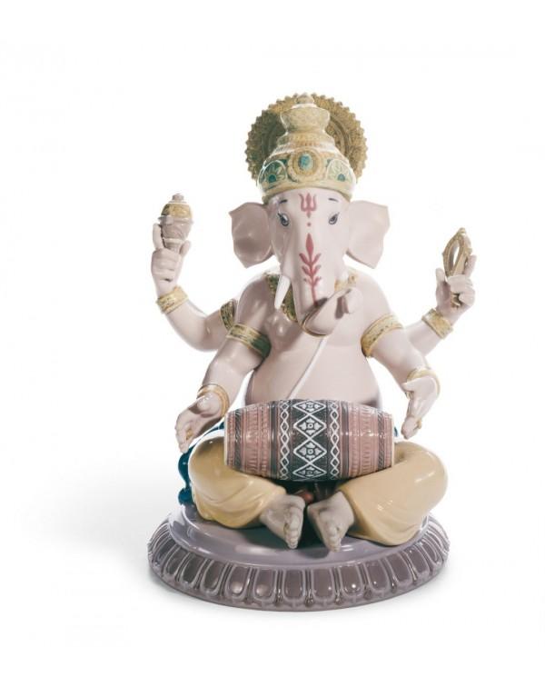 Lladro Mridangam Ganesha Figurine
