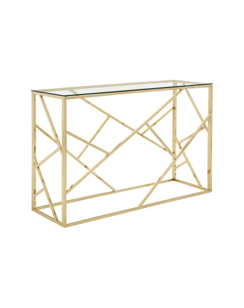 Premier Housewares - Allure Console Table Clear Glass Champagne Gold- Asco Lights