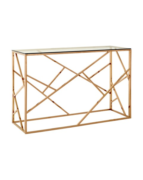 Allure Console Table Clear Glass Rose Gold